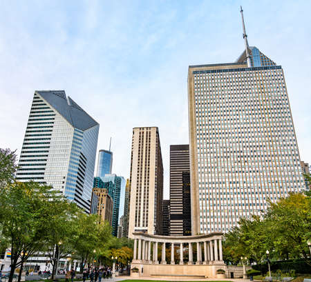 Millennium Monument Peristyle at Wrigley Square in Downtown Chicago - Illinois, United States Stock Photo