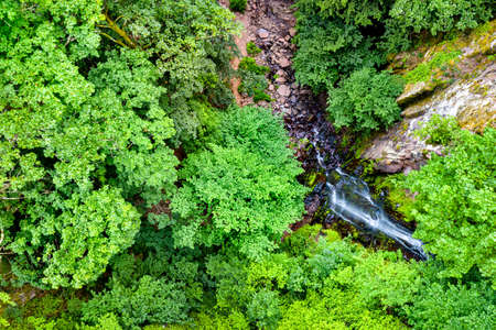 Top view of Nideck Waterfall in the Vosges Mountains - Alsace, France