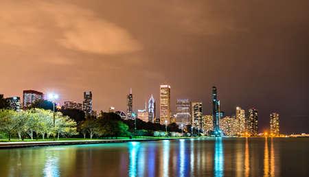 Night Chicago Skyline from Lake Michigan