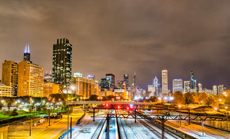 Night view of Chicago above a railway at Grant Park in Illinois, United States