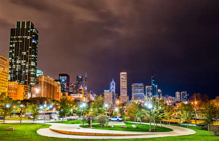 Night cityscape of Chicago at Grant Park in Illinois, United States
