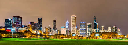 Night skyline of Chicago at Grant Park in Illinois, United States
