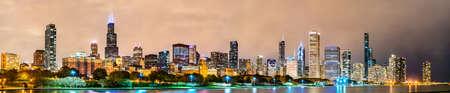 Night Downtown Chicago Skyline at Lake Michigan. Illinois, United States Stock Photo
