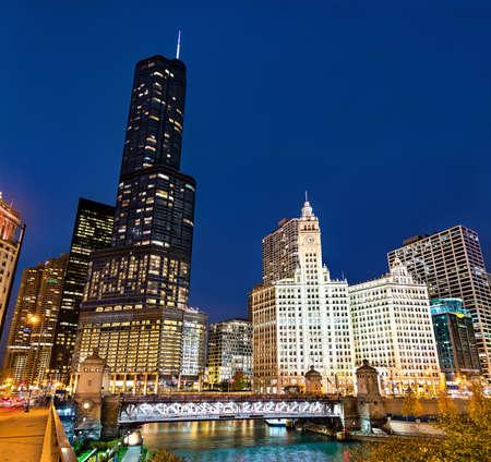 Downtown Chicago at Michigan Avenue Bridge - Illinois, United States