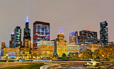 Night cityscape of Chicago at Grant Park in Illinois - United States