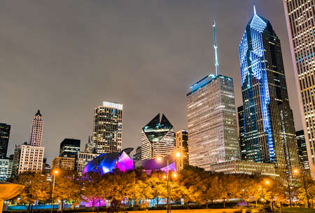 Night cityscape of Chicago at Millennium Park in Illinois - United States