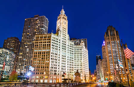Historic buildings in Downtown Chicago, USA