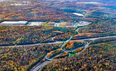 Aerial view of a highway highway interchange near Frankfurt in Germany