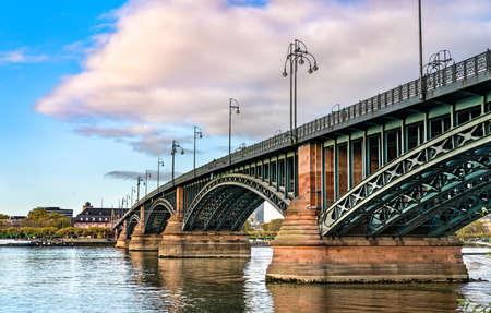The Theodor Heuss Bridge over the Rhine River in Germany Stock Photo