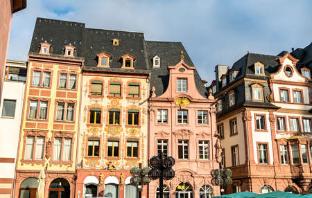 Traditional buildings at Market Square in Mainz, Germany Stock Photo