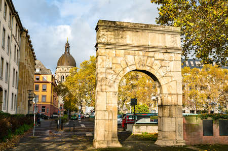 Arch of Dativius Victor in Mainz, Germany Stock Photo