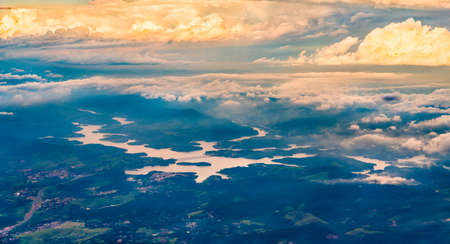 Aerial view of the Atibainha reservoir near Sao Paulo in Brazil