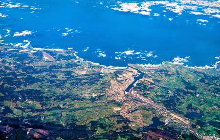 Aerial view of Aviles town at the Atlantic Ocean in Spain Stock Photo