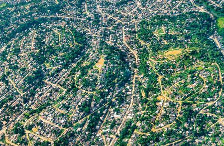 Aerial view of Rio de Janeiro suburbs in Brazil