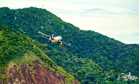 Airplane before landing at Rio de Janeiro Airport in Brazil