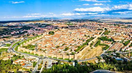 Avila with medieval walls in Spain Stock Photo