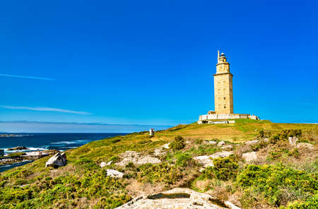 The Tower of Hercules, an ancient Roman lighthouse in A Coruna, Spain
