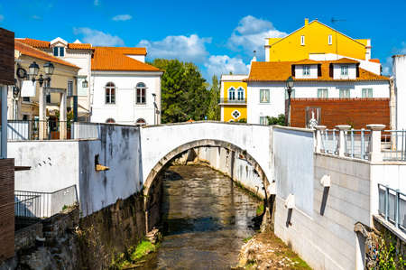 Arch bridge across the Alcobaca river in Alcobaca, Portugal