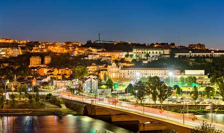 Night cityscape of Coimbra in Portugal
