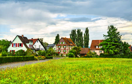 Traditional houses on Reichenau Island in Germany