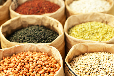 harvest organic: different types of grains for sale at the market