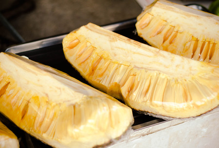 cover up: jack fruit in cover up  on asian market.