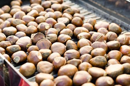 farm market: Roasted Spanish chestnuts on farm market.