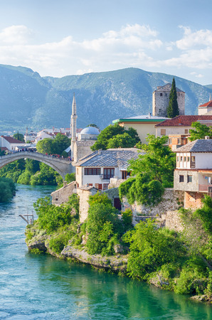 Reconstructed Old Bridge of Mostar on river Neretva. Bosnia and Herzegovina.