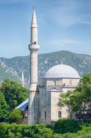 Beautiful white mosque in Mostar. Bosnia and Herzegovina.