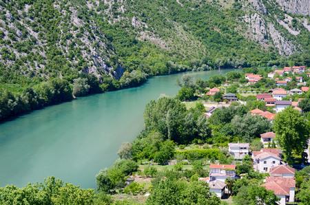 neretva: View on Neretva river in Pocitelj, Bosnia and Herzegovina.