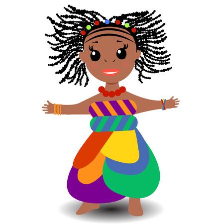 niños diferentes razas: african chica linda en la ilustración nacional de ropa. Vectores