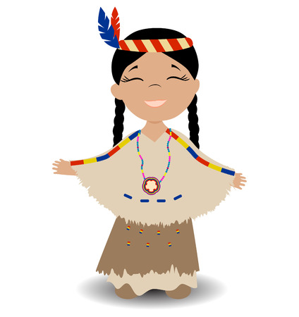 Native american indian girl. Smiling girl with eyes closed.