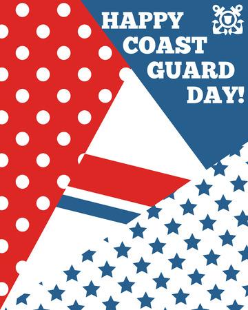 coast: Bright greeting card for Coast Guard day.