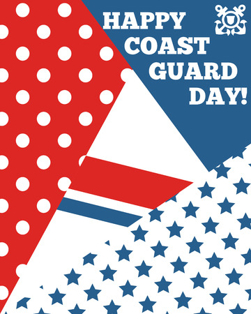 Bright greeting card for Coast Guard day.