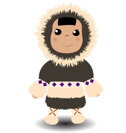 Cute eskimo boy with fluffy fur coat. Illustration