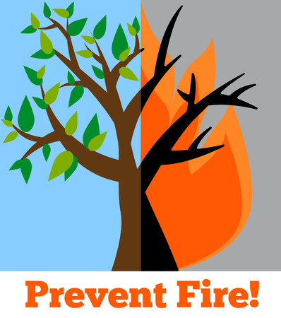 wildfire: Prevent wildfire banner. Stop fire image. Wildfire alert