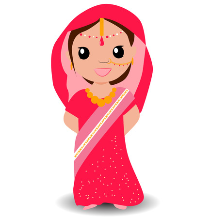 Cute indian girl in saree. Smiling little girl. Illustration