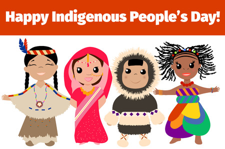 indigene: Indigenous day banner. Multinational characters.