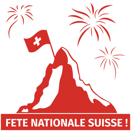 Greeting card image for Switzerland national day.