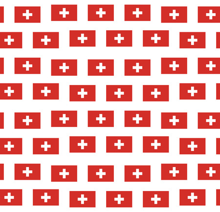 swiss flag: Seamless pattern with swiss flag on white background.