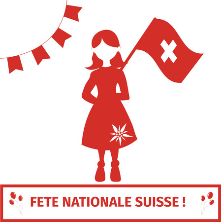 independance day: Switzerland national independance day greeting card. Girl holding swiss flag