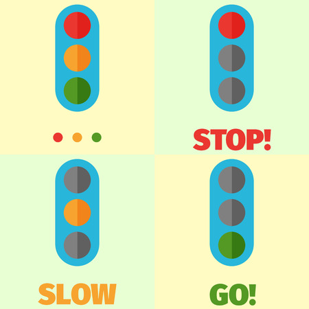 modes: Cute image of flat-style traffic light in different modes. Illustration