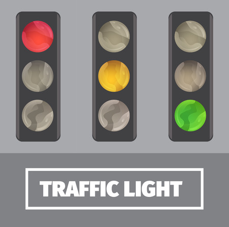 modes: image of traffic lights in different modes. Traffic lamp icons. Illustration