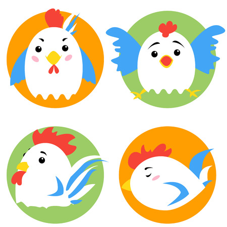 Cute cartoon rooster characters. Vector image. Illustration