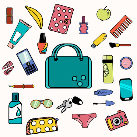 contents: Woman bag content with smartphone, cosmetics and drinking bottle. Illustration