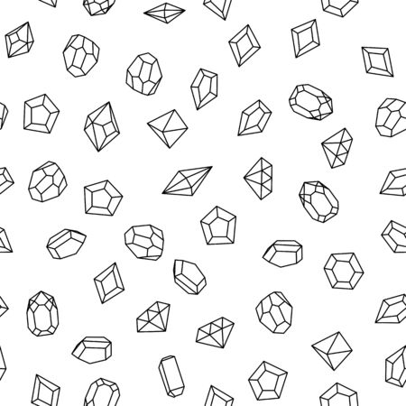 karat: Seamless pattern with white gems. Hand drawn crystals