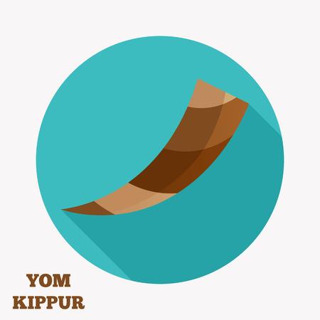 Flat icon of brown horn(shofar), rosh hashanah symbol