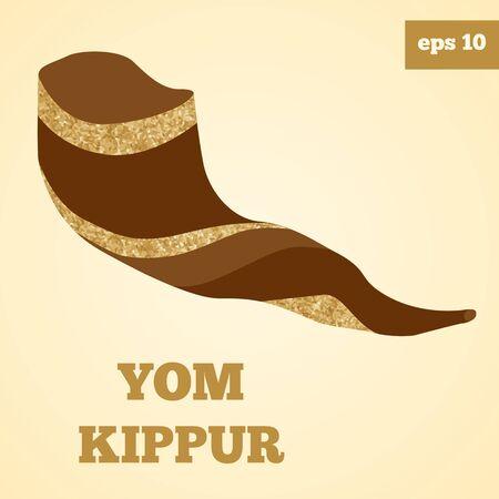 yom kipur: Shofar vector image with golden glitter.