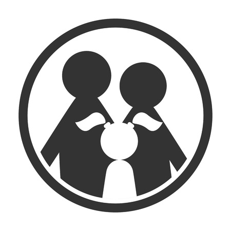 family: Family logo in circle black and white simple icon Stock Photo