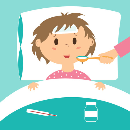 Sick kid taking medicine laying in bed. Vectores